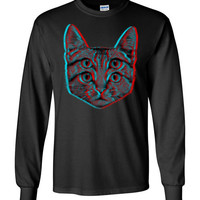 3d Cat Gildan Long Sleeve T-Shirt