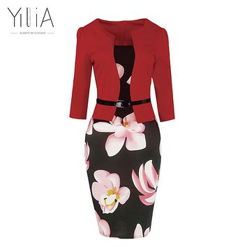 Patchwork Floral Print Elegant Business Party Formal Office Plus Size Bodycon Pencil Casual Work Dress