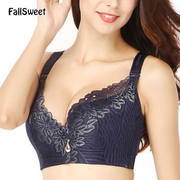 FallSweet D E cup Lace Push Up bra for Plus Size Women 44 46 48 50 Women Large Cup Bras Brassiere