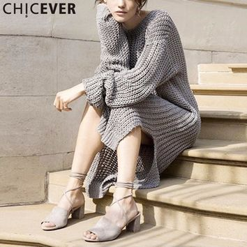 CHICEVER Knitted Midi Dress Women Autumn Long Sleeve Hollow Out Black Knitting Dresses Female Big Size Loose Casual Clothes