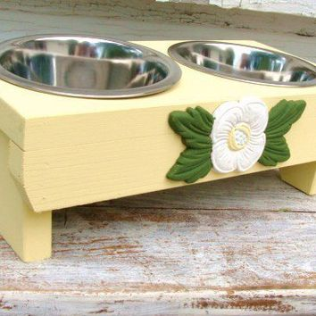 Yellow Dog Bowl Feeder White Flower Accent Cat by baconsquarefarm