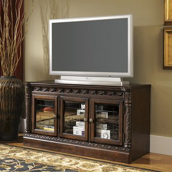 North Shore II collection casual style dark brown rustic finish wood tv stand