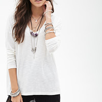 FOREVER 21 Boxy Slub Knit Top