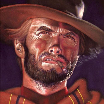Clint Eastwood badass cowboy legend black velvet oil painting handpainted signed art