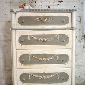 Painted Cottage Chic Shabby Romantic French Chest SSCH20