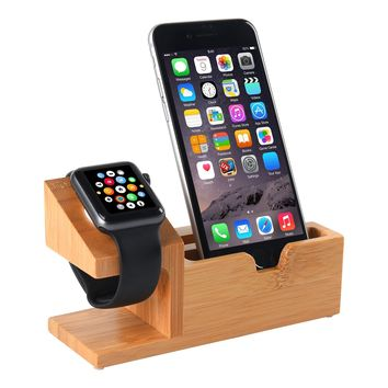 Apple Watch Stand, Bamboo Wood Charging Station with 3 USB Ports for iPhone 7/7Plus/6s/6/Plus/5s, iWatch 38mm/42mm, Samsung ,Cell Phone& Most Smartphones android