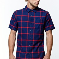 On The Byas Grid Woven Shirt - Mens Shirt - Blue