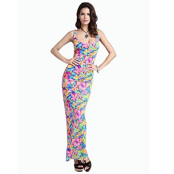 New 2016 Summer Fashion Ice Silk Slim Bodycon Dress Sexy Tank Beach Dress Long Printed Elegant Maxi Dress Sundress S1637
