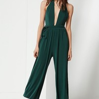 UO Daria Plunging Tie Jumpsuit | Urban Outfitters
