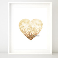 Printable gold heart, gold glitter, pink and gold baby girl nursery printable art, pink heart print, pink glitter heart nursery art -gp107