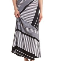Mixed Stripe Maxi Skirt by Charlotte Russe - Black/White