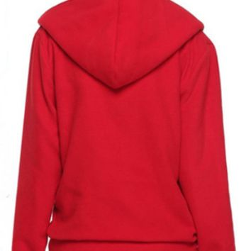 Casual Zipper Front Long Sleeve Hooded Jacket