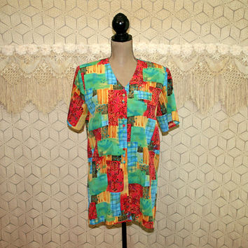 80s Colorful Patchwork Blouse Short Sleeve Top Button Up Tunic Long Top Womens Blouses Vintage Shirt 1980s Vintage Clothing Womens Clothing