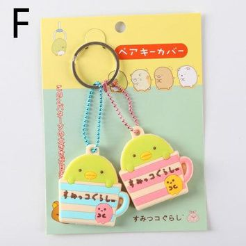 Anime Cartoon Silicone Key Cover Hello Kitty Doraemon Rilakkuma Mini Key Cover Key Caps Lovely Keychain Keyring For Kids Gift