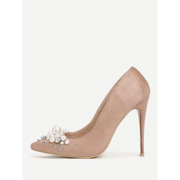 Faux Pearl Pointed Toe Stiletto Heels
