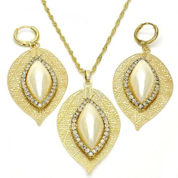 Gold Layered 10.99.0007 Earring and Pendant Adult Set, Leaf Design, with White Crystal and Ivory Pearl, Polished Finish, Golden Tone