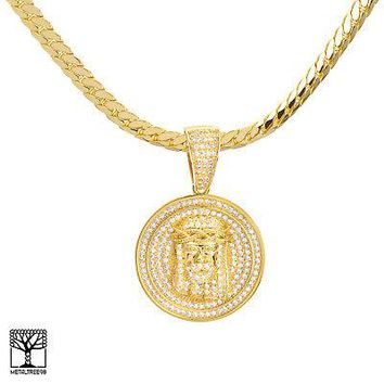 "Jewelry Kay style Men's Gold Tone Iced Jesus Medallion Pendant & 20"" Miami Cuban Chain BCH 12857 G"