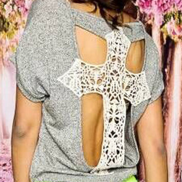 Gray Lace Panel Cut Out Back T-shirt