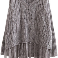 Grey Fringed Knitted Ponchos