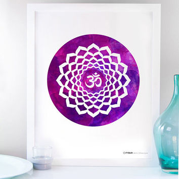 Om Poster Yoga Art Reiki Mantra Crown Chakra Mandala Art watercolor Spiritual Healing Art Namaste Sacred Geometry Meditation Art YOGA Lotus
