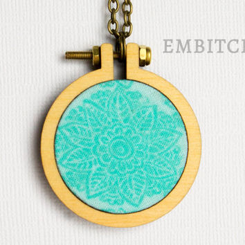 Embroidery Hoop Necklace - Teal Flower - Fabric Jewelry - Mini Hoop Necklace - Flower Necklace - Fabric Necklace - Gifts Under 10