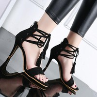 Open Toe Tassels Ankle Wrap Stiletto High Heels Sandals