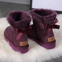 UGG New Fashion Girl Large Bow Tie Keep Warm Snow Boots Shoes