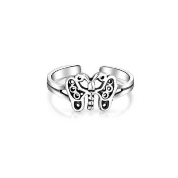 Bling Jewelry Filigree Butterfly Toe Ring Adjustable Sterling Silver Midi Rings