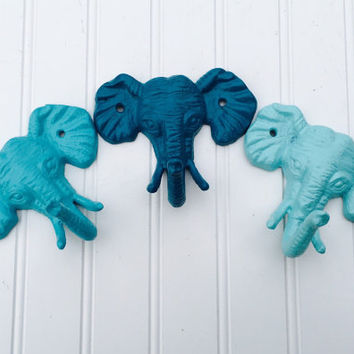 Elephant Hook - Cast Iron Elephant Hook - Nursery Decor - Blue - Turquoise - Aqua