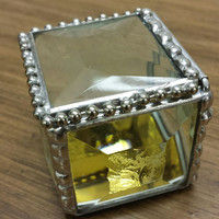 Faceted Clear Jewel Top Engagement Ring Box, Beveled Jewelry Box, Keepsake, Unique and Beautiful..A Great Gift! Order Early!