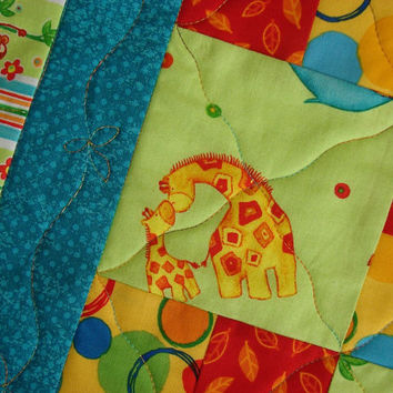 Patchwork Quilt for Kids Boy or Girl Baby or Toddler Elephants Giraffes and Monkeys
