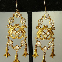 Vintage Renaissance Revival Chandelier Earrings Open Back Crystal & Brass