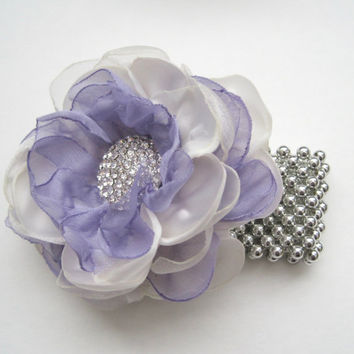 Corsage Bracelet Ivory and Lavender Chiffon Choose Your Style Bracelet Mother of Bride Bridal Shower Prom with Rhinestone Accents.