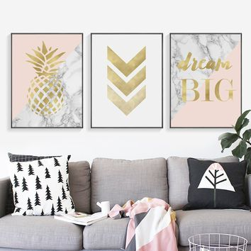 Nordic Posters And Prints Gold Flamingo Wall Art Canvas Painting Pineapple Canvas Poster Wall Pictures For Living Room Home Deco