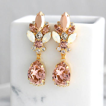 Blush Chandelier Earrings, Bridal Rose Gold Earrings, Bridal Blush Dangle Drop Earrings, Morganite Chandelier Earrings, Statement Earrings