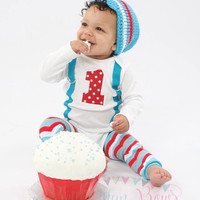BOYS FIRST BIRTHDAY Outfit-M2M Winter Wonderland Birthday-Cake Smash-1 with Suspenders Bodysuit 3 Pc  Set-Boys Christmas Birthday outfit