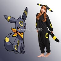 2016 Women Men Halloween Party Pokemon Umbreon Espeon Onesuits Costume Cartoon Cosplay Pajama Pyjama Tracksuit All in one Fleece
