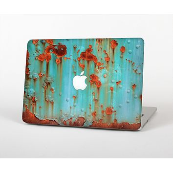 The Teal Painted Rustic Metal Skin for the Apple MacBook Pro 13""