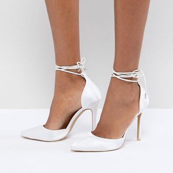 Be Mine Bridal Leila Ivory Satin Ankle Tie Court Shoes at asos.com