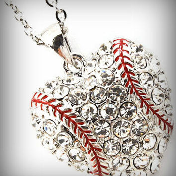 Baseball Rhinestone Crystal Heart Shaped Sports Necklace