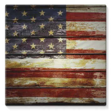 Retro American Flag on Wood Planks Stretched Eco-Canvas