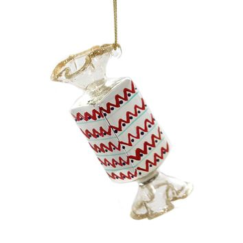 Holiday Ornaments WRAPPED CANDY. Glass Christmas Ta273s Red Zig