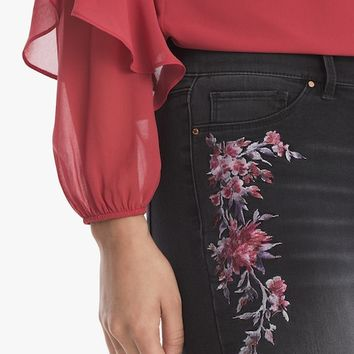 White House Black Market Floral Embroidered Jeggings