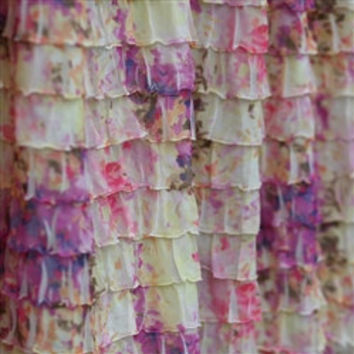 Custom Ruffled Half Curtain Panel, Purple, Cream and Pink Floral or You pick the Color 53 inches long by 44 Inches Wide