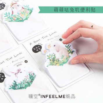 Cute animals rabbit blessing Paste memo pad planner sticky note paper sticker kawaii stationery pepalaria office school supplies