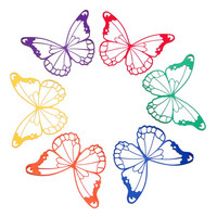 6 Butterfly Die Cuts in Rainbow Colors