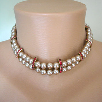 Pearl Necklace, Art Deco Jewelry, Great Gatsby Jewelry, Backdrop Necklace, Pearl Choker, Pearl and Ruby Necklace,  Upcycled Vintage Ruby Red