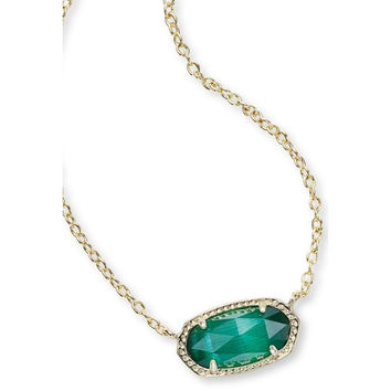Kendra Scott: Elisa Gold Pendant Necklace in Emerald Green Catseye