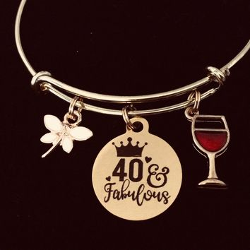 Gold Expandable Charm Bracelet 40 and Fabulous Adjustable Wire Bangle Meaningful 40th Birthday Forty One Size Fits All Gift