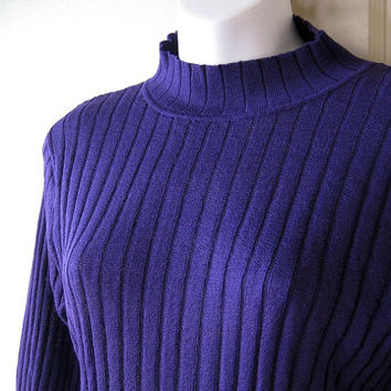Largeish Medium Dark Purple Turtleneck Top - Grape Purple Ribbed Vintage Mock Turtleneck - Lightweight Purple High Neck All-Season Pullover